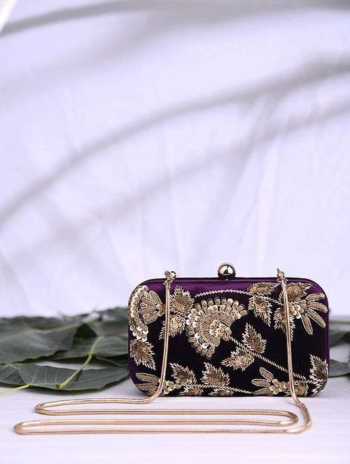 Royal Purple Hand Embroidered Velvet Clutch