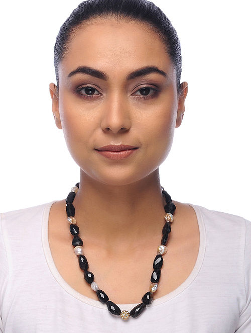 Brown-White Topaz and Pearl Beaded Necklace