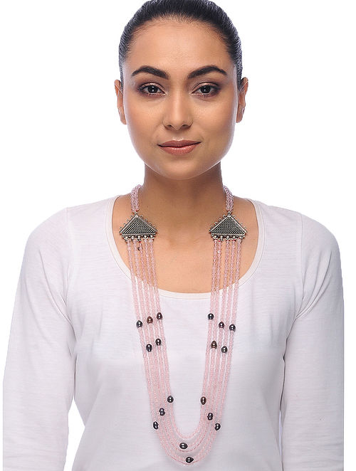 Pink-Grey Quartz and Pearl Beaded Necklace