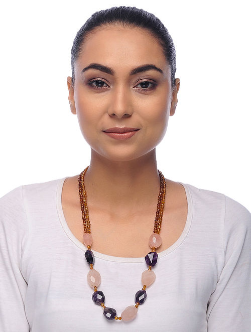 Multicolored Topaz Amethyst and Quartz Beaded Necklace