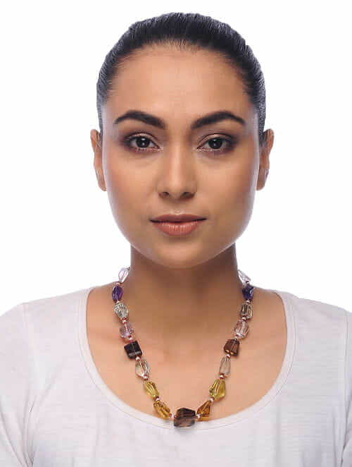 Multicolored Topaz and Amethyst Pearl Beaded Necklace