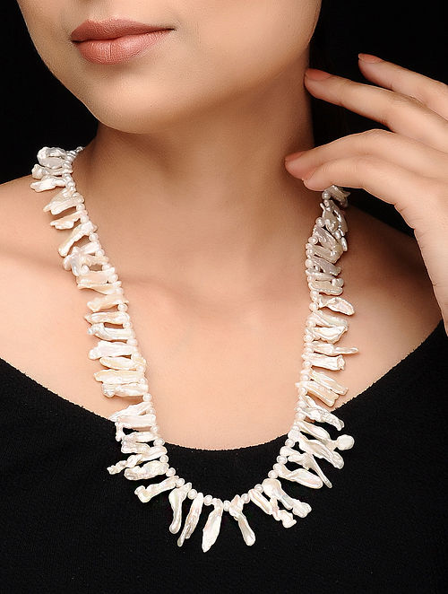 White-Yellow Baroque Pearl Beaded Necklace