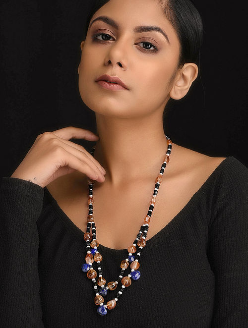 Multicolored Natural Citrine Lapise and Black Onyx Necklace with Pearls