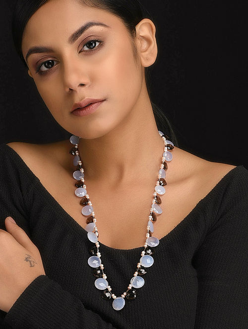 Blue-Brown Natural Smoky Topaz and Chalcedony Necklace with Pearls