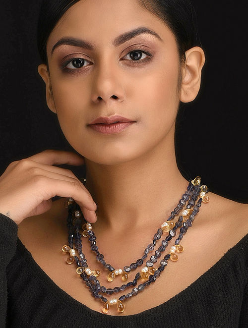 Grey-Yellow Natural Iolite and Citrine Necklace with Pearls