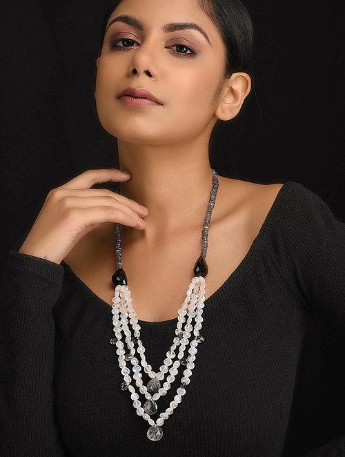 Black-White Natural Rainbow Moonstone Rutile Quartz and Black Onyx Necklace