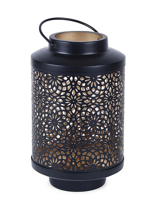 Black Iron Lantern with Floral Design (H:6.7in, Dia:4.7in)