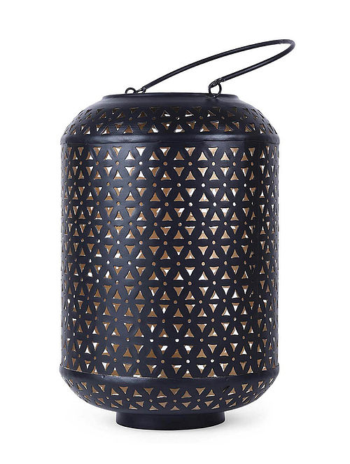 Black Iron Hurricane Lantern with Powder Coated Finish (H:10.2in, Dia:4.3in)