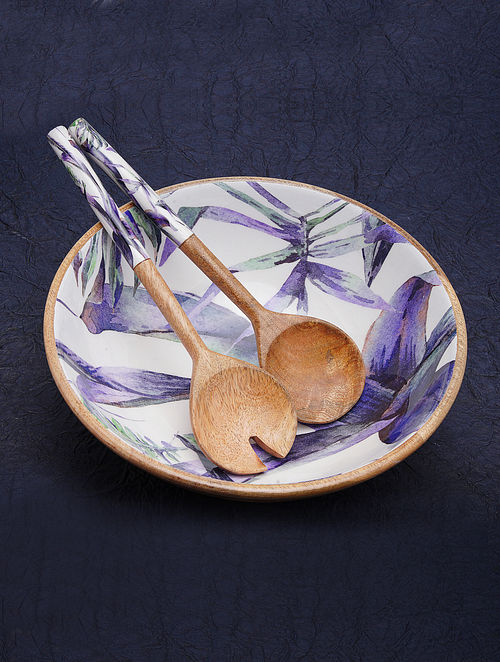 Purple and White Handcrafted Wooden Bowl with Servers (Set of 3)