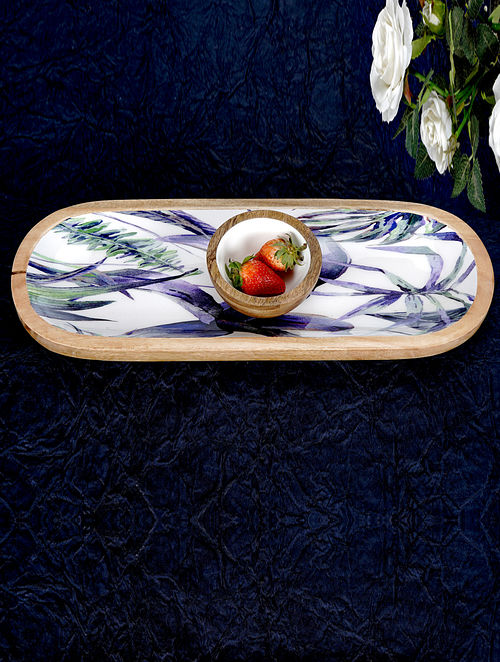 Purple and White Handcrafted Wooden Platter with Bowl (Set of 2)