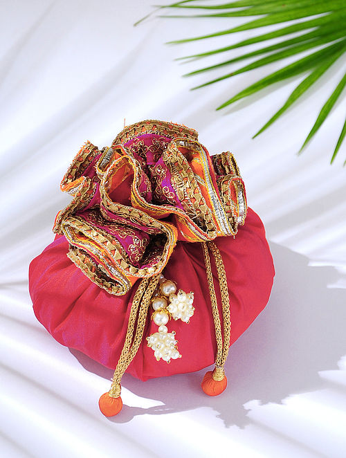 Pink Handcrafted Potli with Latkans