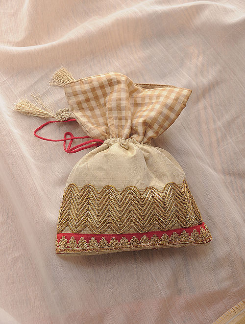 Beige Hand-Crafted Embroidered Silk Potli with Latkans
