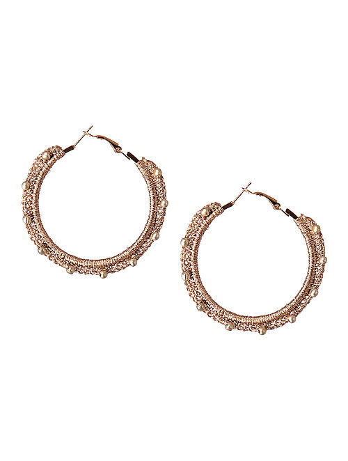 Rose Gold Thread Earrings with Crochet Work