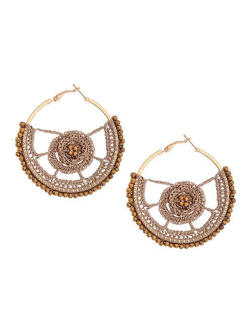 Rose Gold Thread Earrings with Crochet Work