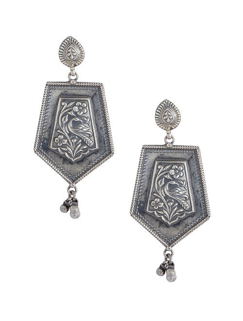 Tribal Sterling Silver Earrings with Peacock Motif