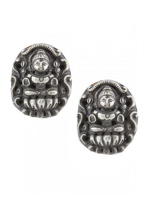 Tribal Sterling Silver Stud Earrings with Deity Motif