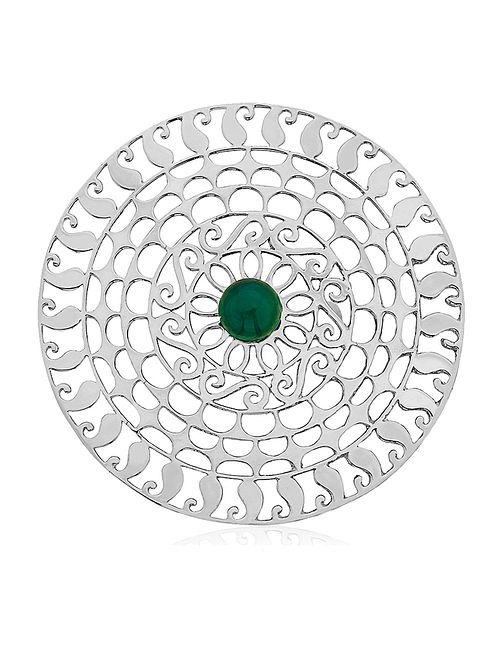 Green-Onyx Silver Adjustable Ring