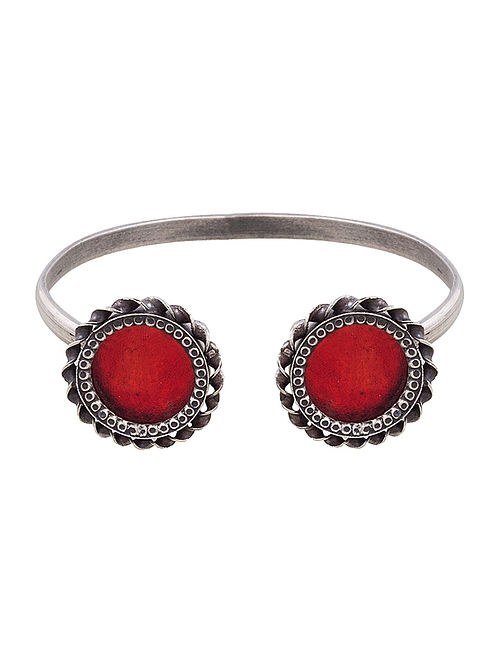 Red Glass Tribal Silver Cuff