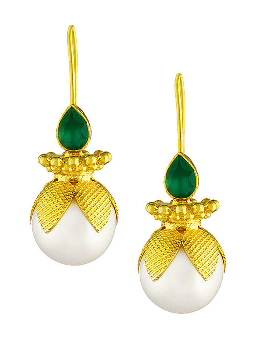 Green Onyx Cabochon Gold-plated Silver Earrings with Pearls
