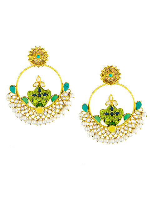 Green-Blue Enameled Turquoise Gold-plated Silver Earrings