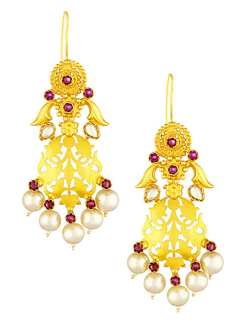 Pink Gold-plated Silver Earrings with Filigree Work