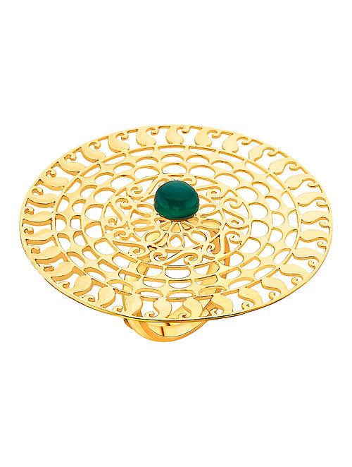 Green Onyx Gold-plated Adjustable Silver Ring