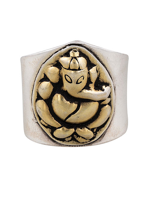 Gold-plated Adjustable Silver Ring with Lord Ganesha Motif