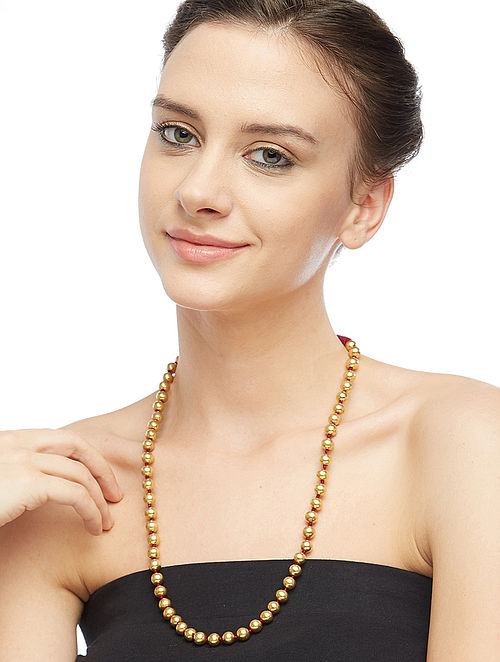 Gold-plated Silver Beaded Necklace