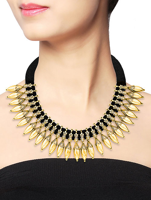 Black Thread Gold-plated Silver Necklace