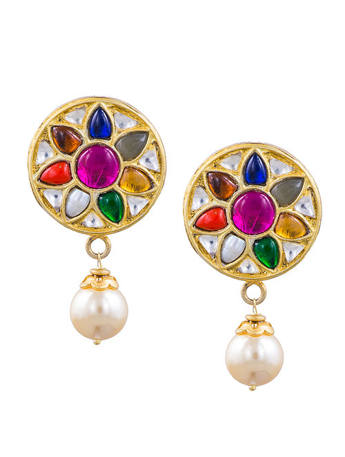 5cd5a9977 Navratna Gold-plated Sterling Silver Earrings Gilded Joy