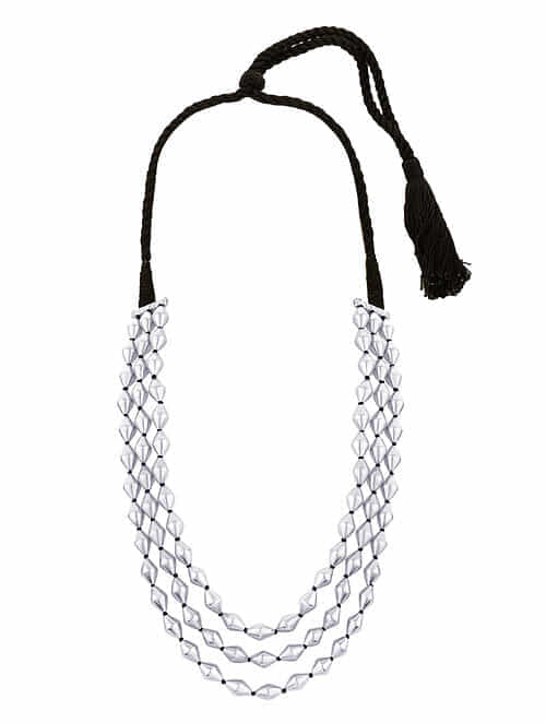 Dholki Beaded Sterling Silver Necklace