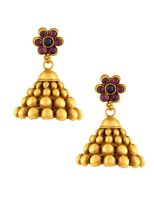 Spinel Ruby Gold-plated Sterling Silver Jhumkis