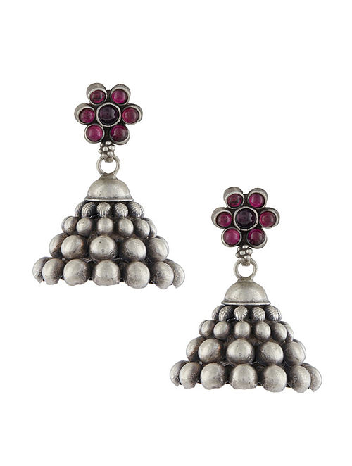 Pink Tribal Sterling Silver Jhumkis with Floral Design