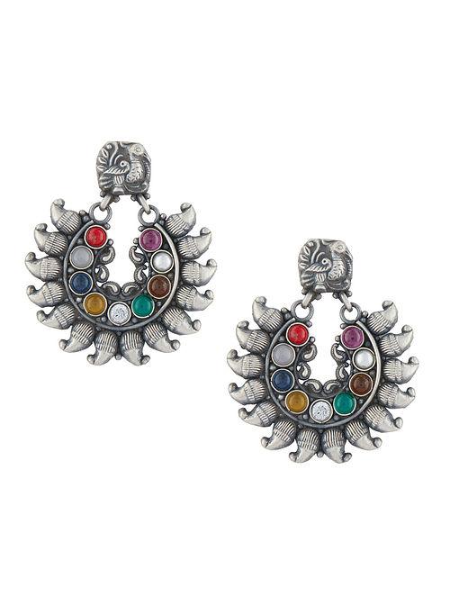 Multicolored Tribal Sterling Silver Earrings