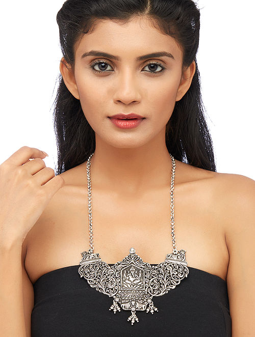 Tribal Sterling Silver Necklace with Lord Ganesha Motif