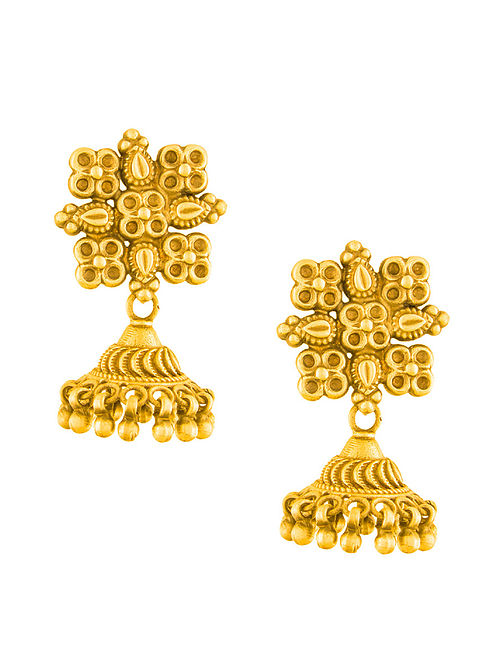 Eclectic Gold-plated Sterling Silver Jhumkis