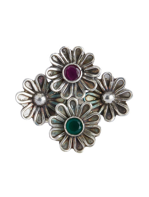 Red-Green Adjustable Sterling Silver Ring