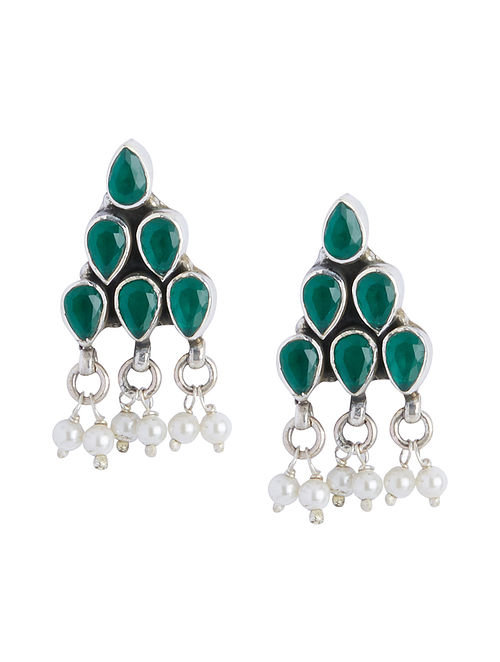 Green Onyx Sterling Silver Earrings with Pearls