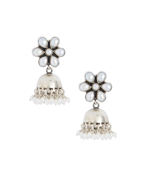 Pearl Sterling Silver Jhumkis