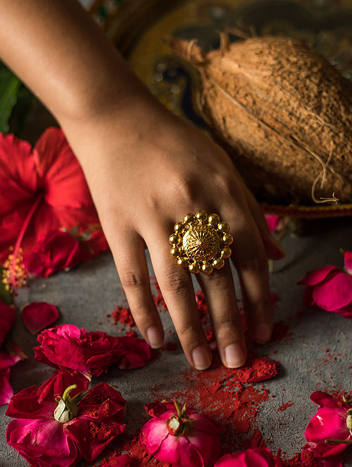 Gold Plated Silver Adjustable Ring