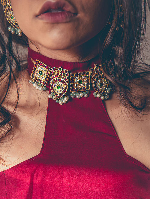 Red-Green Gold-plated Silver Necklace with Pearls