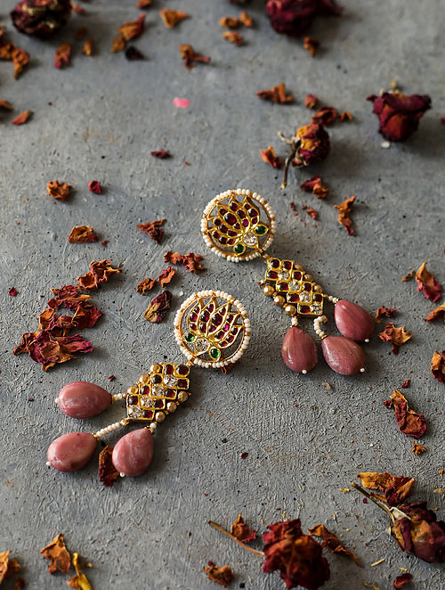 Pink-Red Gold-plated Silver Earrings with Pearls