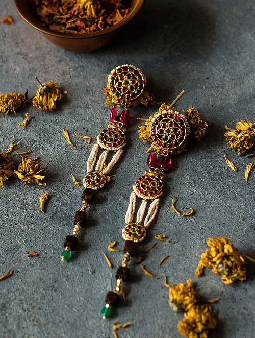 Ruby and Onyx Gold-plated Silver Earrings