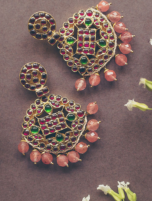 Red-Green Gold-plated Silver Earrings