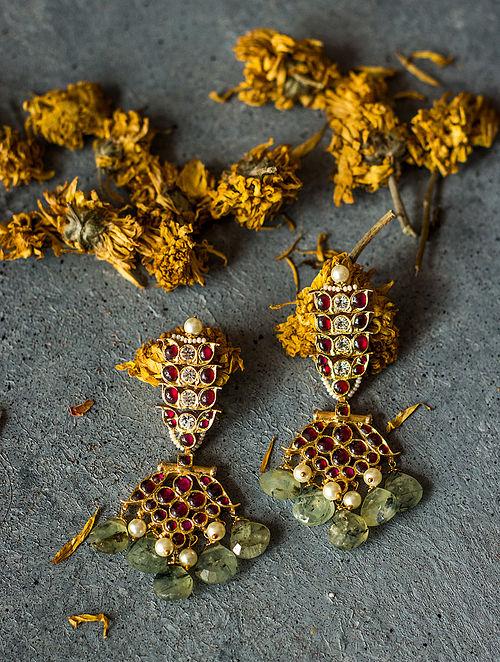 Prehnite Gold-plated Silver Earrings