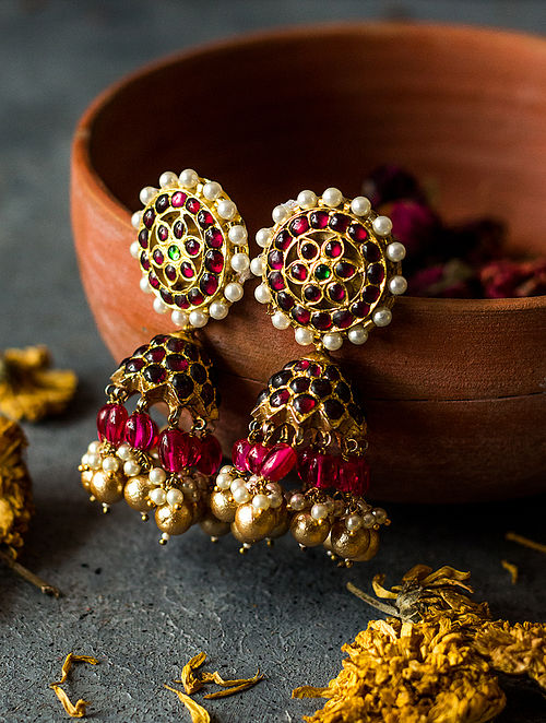 Ruby Gold-plated Silver Jhumkis with Pearls