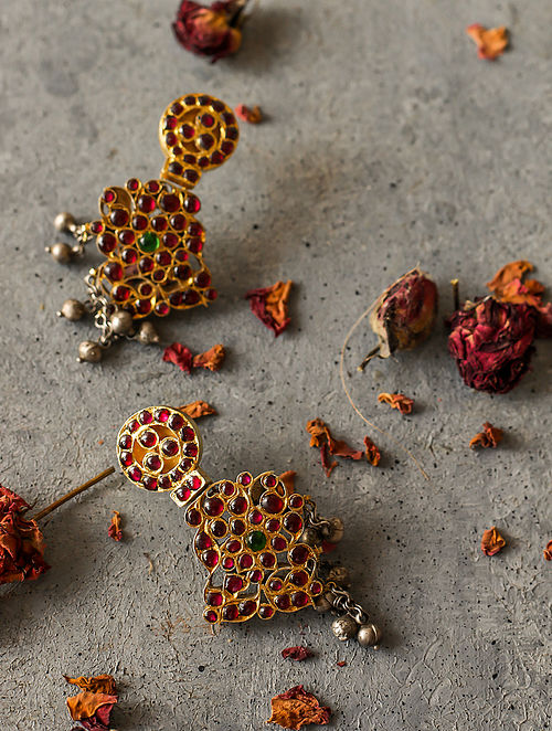 Red Gold-plated Silver Earrings