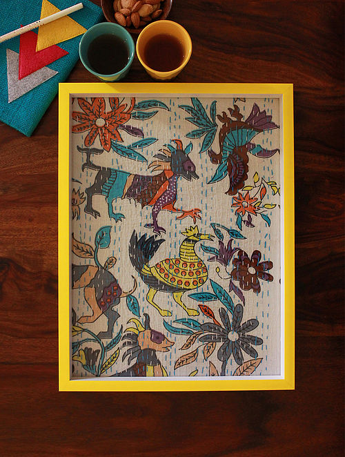 Multicolored Gudri Embroidered Wood and Glass Tray (16in x 12in)