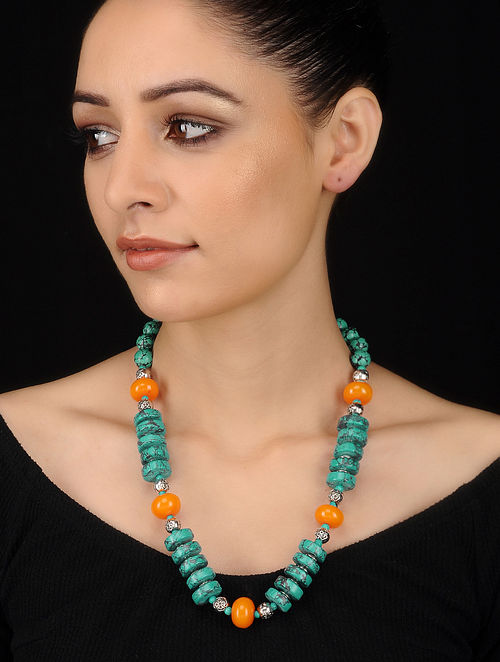 Turquoise-Orange Beaded Necklace