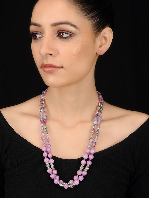 Pink-Blue Crystal and Agate Beaded Necklace